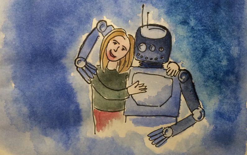 Robot woman hug